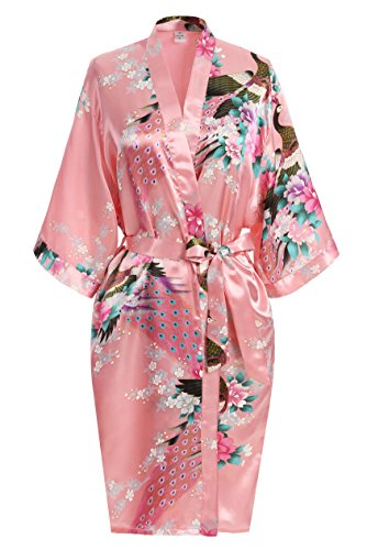 USDisc't Elegant Women's Kimono Robe for Parties Bridal and Bridesmaid Short (S, Magenta)