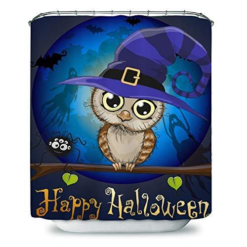 Payanwin Halloween-Duschvorhang, Eulen-Motiv unter dem Mond, wasserdichter Polyester-Stoff, Badvorhang, blau, braun, 183 x 183 cm