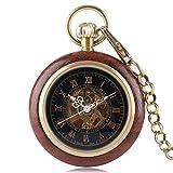 DZNOY Reloj de Bolsillo de niño, Relojes de Esqueleto numérico Romano Reloj de Bolsillo mecánico de la Caja de Madera, Regalo para Hombres - Reloj de Bolsillo