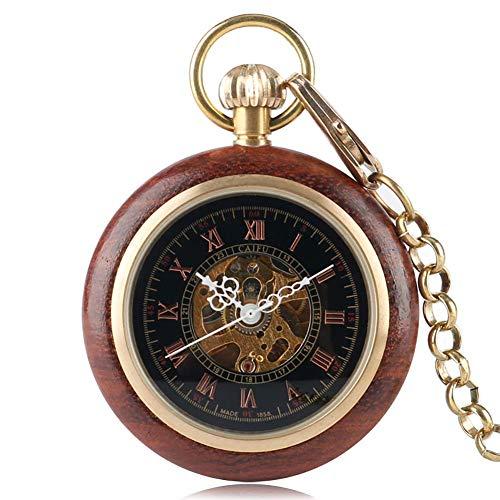 LYMUP Reloj de Bolsillo para Hombre Relojes de Esqueleto numérico Romano Reloj de Madera mecánico Reloj de Bolsillo Regalo para Hombres,Vapor