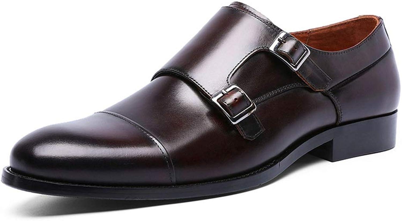 Fuxitogo Monk skor Double Buckle Monk Monk Monk skor for män Genuine läder Formal Business skor (Färg  bspringaaa, Storlek  UK 9)  shoppa nu