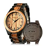 Wooden Men Watches, shifenmei Natural Handmade Wood Watch Analog Japanese Quartz Movement Wood Wrist Watch for Mens with Exquisite Box (B-for Husband)