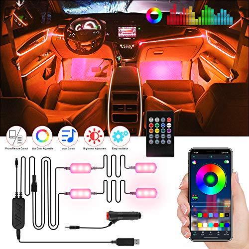 Tiras Luz interior coche led, Aimocar RGB Luz Barras Kits de Atmosfera iluminación controlados Multi DIY Color Música Impermeable APP Inalámbrico Control Encendedor del Cigarro USB para Coche