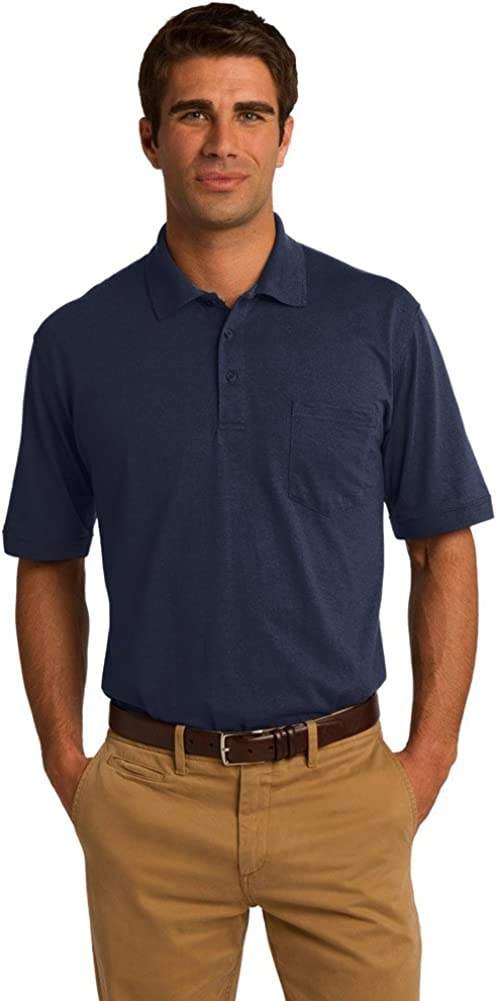 Port & Company 5.5-Ounce Jersey Knit Pocket Polo Shirt, Deep Navy, XXX-Large