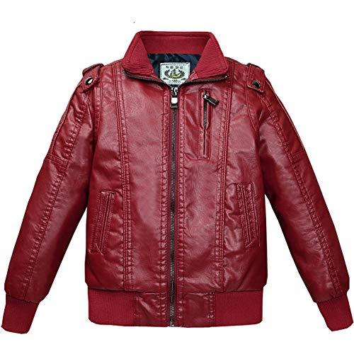 SXSHUN Niños Chaqueta Moto de Cuero de Invierno Pilot Jacket de Piel Sintética con Forro Polar, Rojo (Forro Polar), 9-10 años (Etiqueta: 170)