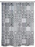 WENKO Duschvorhang Portugal - Textil , waschbar, wasserabweisend, mit 12 Duschvorhangringen, Polyester, 180 x 200 cm, Mehrfarbig