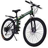 26 Inch Full Suspension Mountain Bike Road Bike City Commuter Bicycle with 21 Speeds Dual Disc Brakes Folding Bike Non-Slip Bike Drivetrain Road Bike for Mens/Womens