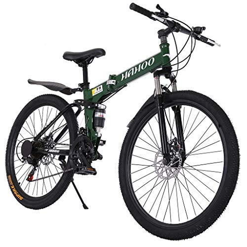 Nawenjuyu 26 inches Mountain Bike, 21-Speed, Dual Disc Brakes Full Suspension Non-Slip, 26 Inch Wheels/17 Inch Frame, Black/Green