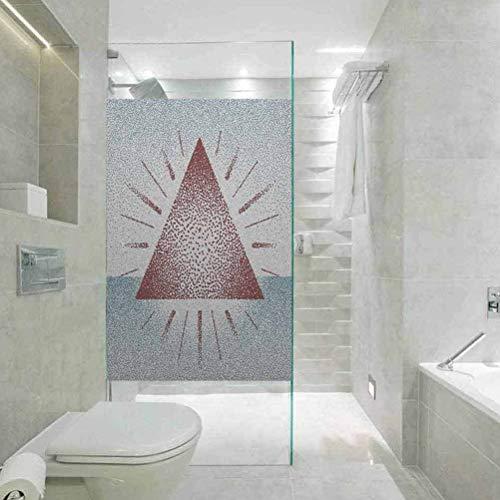 Autoadhesivo para bloqueo de rayos UV, diseño de triángulo digital geométrico con puntos retro pirámide, adhesivo estático para ventana para hogar y oficina, 23.6 x 47.2 pulgadas