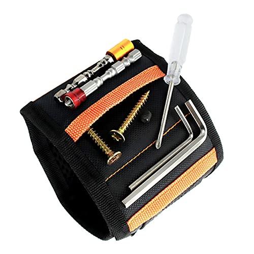 Aischens Polsino Bracciale Magnetico, Bracciale Magnetico Porta Viti Polsino Magnetico Braccialetto con 15 Magneti per Fissare Viti Attrezzi Accessori Fai da te Gadget Regalo Uomo Regalo Natale