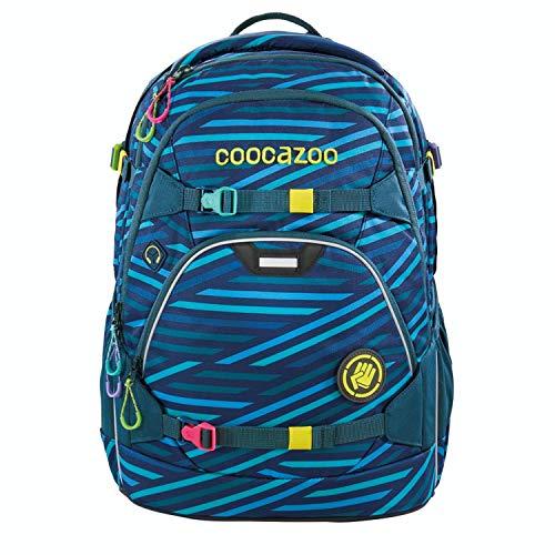 coocazoo Schulrucksack ScaleRale Zebra Stripe Blue blau, ergonomischer Tornister, höhenverstellbar mit Brustgurt und Hüftgurt für Jungen ab der 5. Klasse, 30 Liter