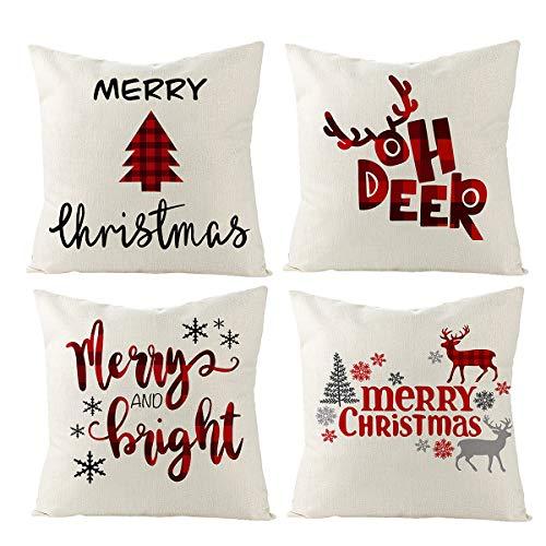 FengRise Christmas Throw Pillow Covers Set – 4Pcs...