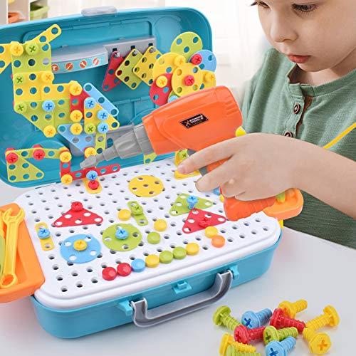 Puzzles 3D Mosaico Creativo Juguete, [310 Piezas] Vehículo Maleta Destornillador de Taladro Eléctrico Construir Modelo 2D Montaje de Bloques DIY Stem Educativo Regalo para Niños Chicos 3+