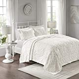 Madison Park Sabrina 3 Piece Tufted Cotton Chenille Quilt Set Coverlet Bedding, King/Cal King, Medallion Embroidery White