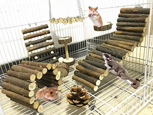 Lurowo 8 Stück Hamster Kauspielzeug Natürliche Holz Kauen Spielzeug,Hanteln,Hängebrücke,Living Leiter, Natürlichem Holz Molar und Zahnpflege Spielzeug für Chinchilla, Hamster, Papageien, Häschen