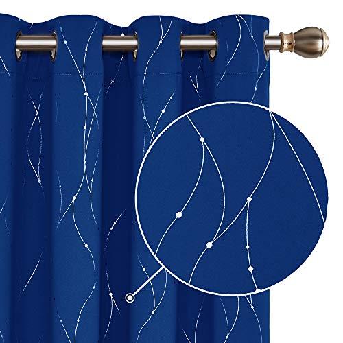 Deconovo Cortinas Opacas con Aislamiento Térmico con 8 Ojales para Habitaciones de Niñas 117 x 229 cm 2 Piezas Azul