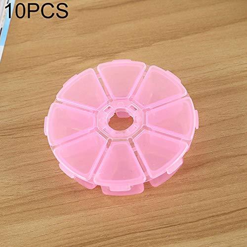 QICHENGBIN Mini Coffret à Bijoux Round 8 Machines à sous boîte en Plastique Organisateur de Stockage de conteneurs, for Bijoux en Cristal Pendentif Accessoires 10 PCS (Color : Pink)