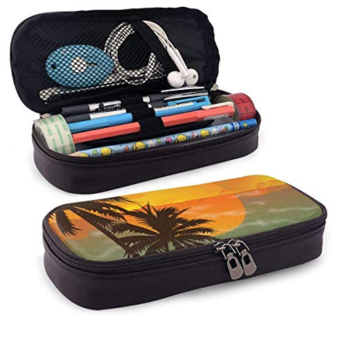 Synthetic Leather Pencil Case Summer Travel Silhouette of Beach Sunset Pen Bag Zipper Pen Pencil Pouch Case Holder Bag for School Work Office