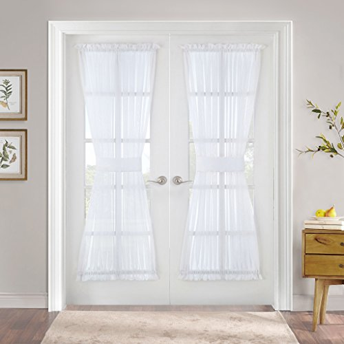 PONY DANCE Sheer Door Curtain - French Door Panel Voile Drapes for Metal Glass Patio Door Light Filter Privacy Protect with Tieback, 60 in Wide by 72 in Long, White, 1 Piece