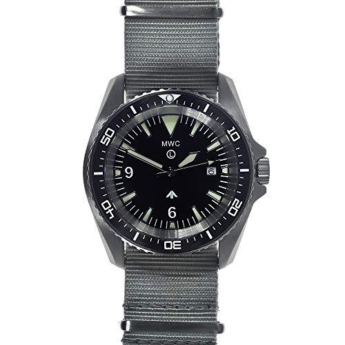 MWC Diver Swiss Quarz Stahl Schwarz Keramik Saphir Datum Stoff NATO Herren Uhr