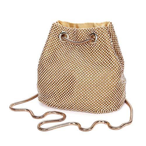 Damen Abendtasche Clutch Umhängetasche Kleine Pailletten Handtasche Schultertasche Kette Tasche für Hochzeit Party Disko - Gold