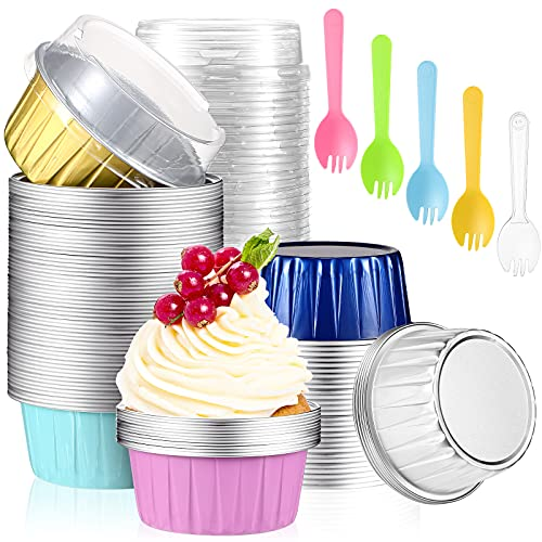 Suclain 200 Pieces 5 OZ Aluminum Foil Baking Cups with Lids and Spoons Include100Pcs MuffinLinersCupsReusableFoil Cupcake Ramekins, 100 Pieces Colorful Plastic Sporks for Birthday Wedding Party