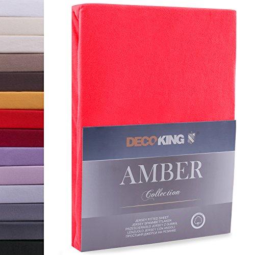 """#1 DecoKing Jersey Spannbettlaken, Spannbetttuch, Bettlaken, """"Amber Collection"""", 80x200 cm - 90x200 cm, Rot"""