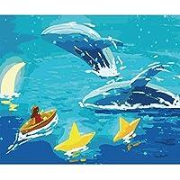 数字キットによる 塗DIYの油絵の素材パッケージは、初心者と大人がキャンバスに番号でペイントすることを目的 40x50cmフレームレス - 2496少女とクジラ,40×50cm(フレームなし)