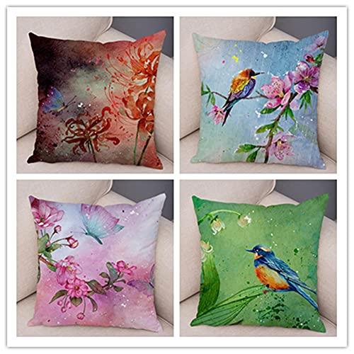Funda de Almohada 4 Piezas Flores y pájaros Decorativos Funda de Almohada 4 Piezas Lino Terciopelo Funda de cojín,para Almohada para Cojines Decorativos para Salon Jardín Cama Coche 40x40cm(16x16in)