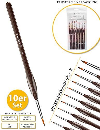 CreaTek© 10 Premium Detail Pinsel | Größe 5/0 bis 8 |Ideal als Nachfüll-Set | Perfekte Ergebnisse für Aquarell, Acryl, Öl, Modellbau, Warhammer 40k, Malen nach Zahlen