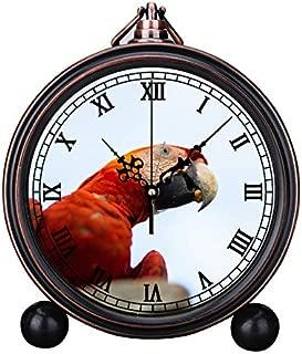 European Retro Alarm Clock Round Silent Quartz Watch Simple Headboard Digital Alarm Clock Bell Alarm Clock Photo of a Macau Parrot