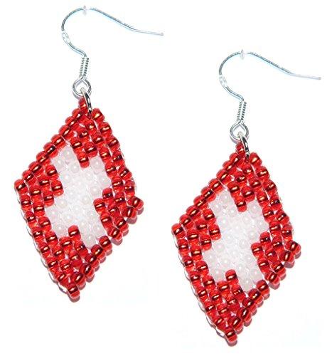 Glasperlenohrringe im Design der Schweiz, Suisse, Svizzera, Flagge – Handgefertigter Perlenarbeiten