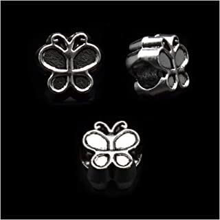 Pack of 50 Butterfly Antique Silver Plated Spacer Loose Beads Charms for Pandora Bracelet DIY Jewelry Making