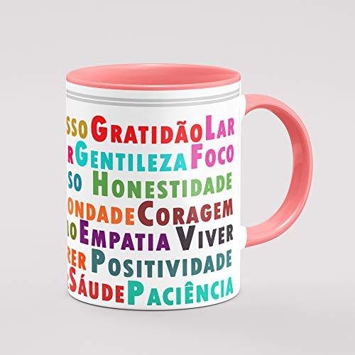 Caneca palavras de positividade e Deus interior rosa