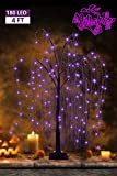 EAMBRITE Halloween Willow Tree 4FT 180LT LED Black Ghost Tree with Orange and Purple Fairy Lights for Indoor Outdoor House Yard Garden Scary Halloween Theme Decoration