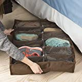 Under Bed Storage Shoe Organizer Bag with Clear Plastic Zippered Cover, Stores 12 Pairs of Shoes by Everyday Home (Brown)