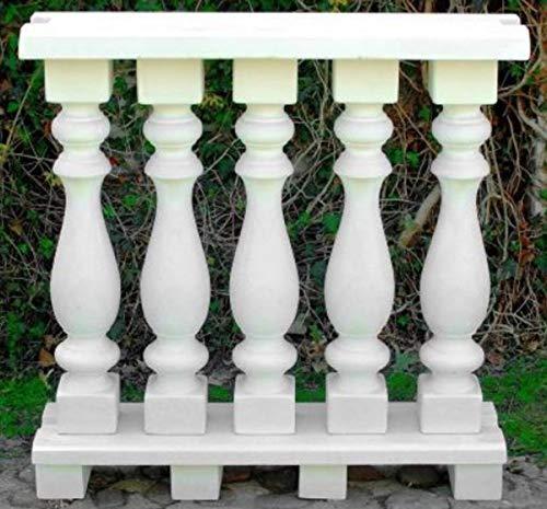 Casa Padrino balaustrada Art Nouveau Blanco 100 x 25 x A. 101 cm - Barandilla de Piedra Maciza Hechas del concreto más Fino - Balaustradas de Jardín y Terraza