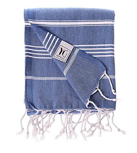 YENGAS Asciugamano Hamam, 100 x 180 cm, Grande asciugamano multiuso in 100% cotone, Asciugamano da bagno per spa, Leggero e salvaspazio, Asciugamano per sauna con frange, Blu