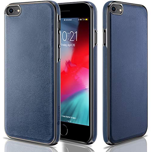 CellEver Compatible with iPhone SE 2020 Case/iPhone 7 Case/iPhone 8 Case, Premium Leather Guard Thin Slim Soft Flexible Scratch-Resistant Anti-Slip Luxury Vegan Leather Cover (Navy Blue)