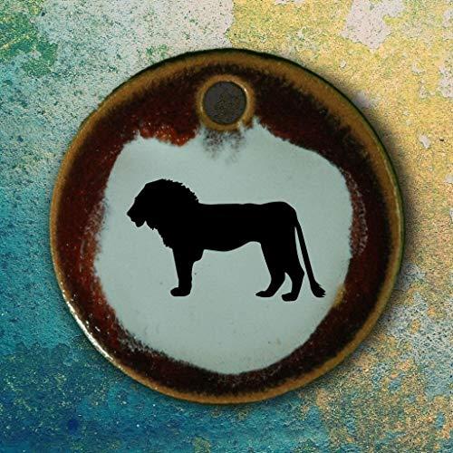 Echtes Kunsthandwerk: Toller Keramik Anhänger Löwe; Afrika, Tier, Tiere, Zoo, Urlaub, Safari