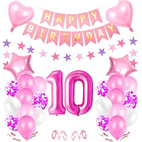 10er Cumpleaños Globos, Cumpleaños 10 Año Bebe Niñas, Decoración de cumpleaños 10 Rosa, Foil Globo Número 10 Rosa, Globos de Aluminio para Niñas, Globos Confeti Aluminio para Fiestas Niñas