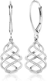 10K Solid White Gold White Diamond (0.078 cttw, I-J Color, I1-I2 Clarity) Swirl Dangle Lever Back Earrings