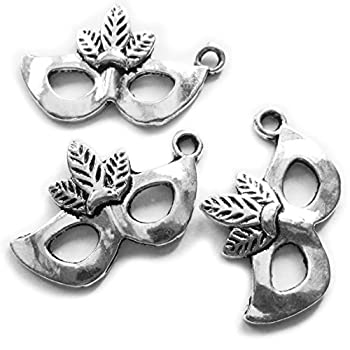 Heather s cf 48 Pieces Silver Tone Mask Beads DIY Charms Pendants 26X16mm