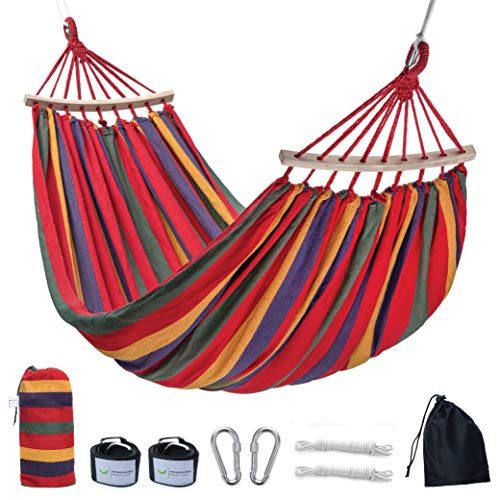 Thecozymonkeys Cotton Double Hammock - Outdoor Hammock for Garden and Camping - Swing Bed with...
