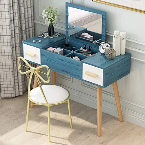 Schminktisch kinder mädchen Mädchen Schminktisch mit Schmetterlingsstuhl mit Rückenlehne und gepolsterter Sitzbank Seitenständer mit Holzschublade Holzbein mit Bodenschutz für Schlafzimmer Ankleidez