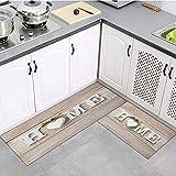 OPLJ Alfombra de Cocina Lavable para el hogar, Pasillo de Dormitorio, Sala de Estar, Alfombra para Puerta de Entrada, Alfombra Antideslizante de Grano de Madera A4 40x60cm