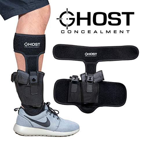 Ghost Concealment Large Ankle Holster for Concealed Carry Pistol | Universal Leg Carry Gun Holster with Magazine Pouch | Men and Woman Holster