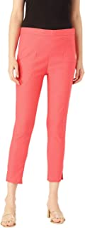 Rapsodia Stretchable Cotton Blend Trouser Pants for Women (Peach)