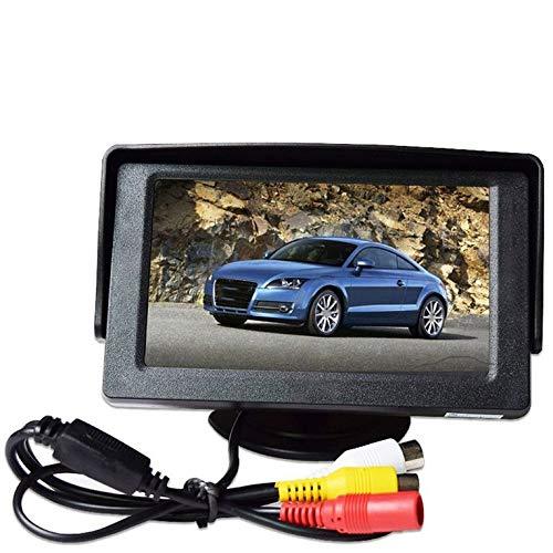 QiKun-Home Pantalla del Coche Pantalla LCD Digital Tft HD de 4,3 Pulgadas TV pequeño Entrada AV bidireccional Prioridad de Marcha atrás Entrada de vídeo bidireccional Negro