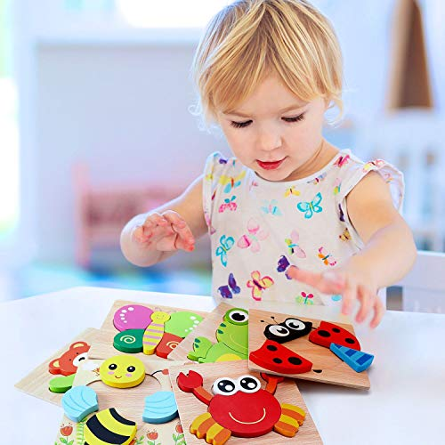 AKAMINO Wooden Animal Jigsaw Puzzles for Toddlers Kids 1 2 3Years Old, Boys & Girls Educational Toys Gift with 6 Animals Patterns, Vibrant Color Shapes